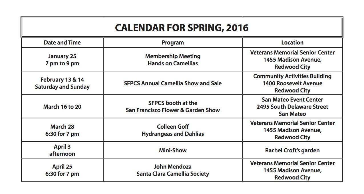 Calendar for Spring 2016