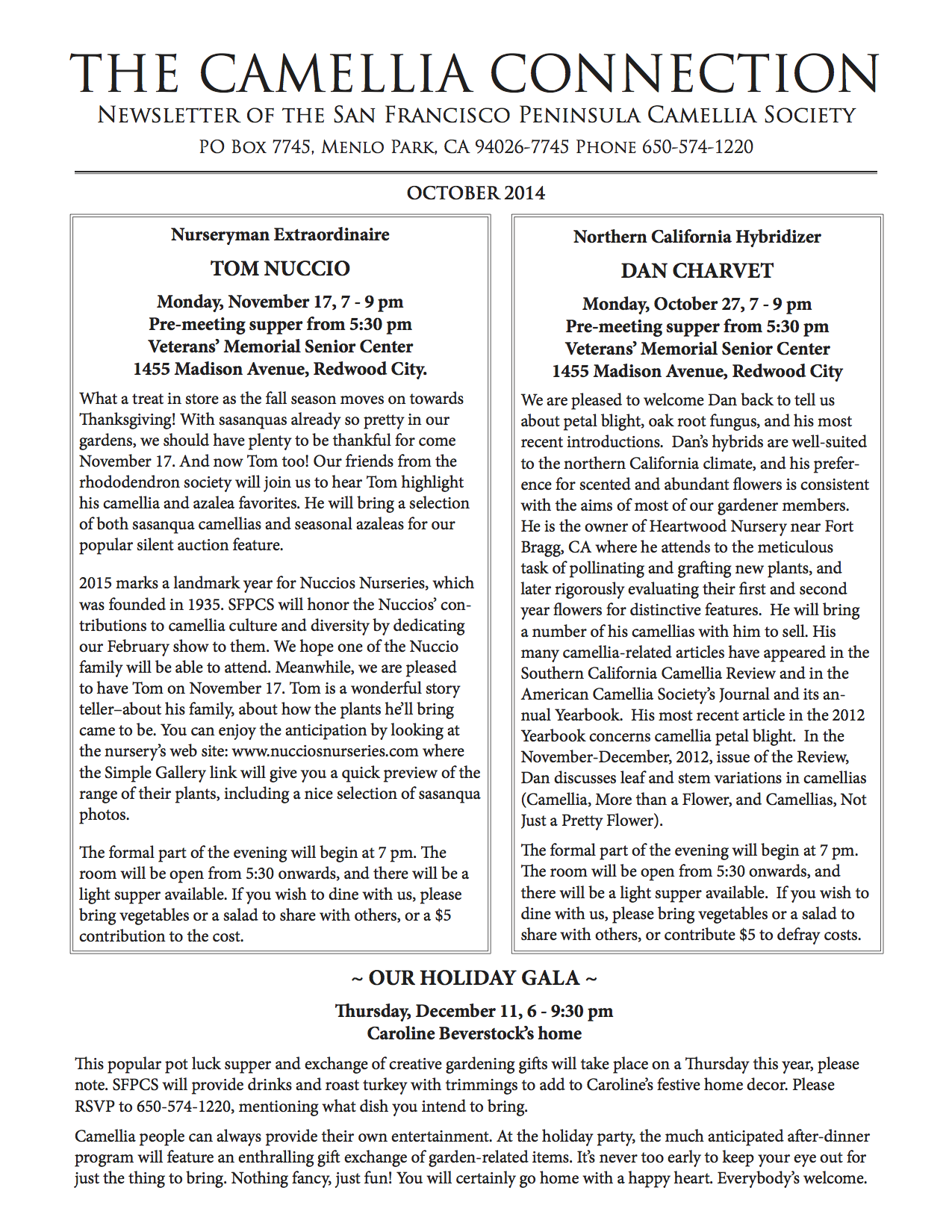 October 2014 newsletter p1